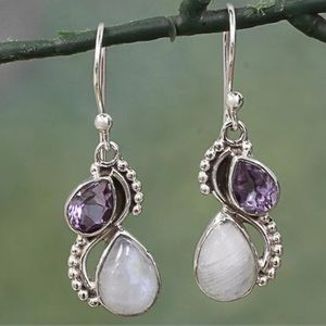 Amethyst & Moonstone Gold Filled Earrings